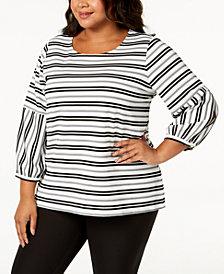 Calvin Klein Plus Size Striped Blouson-Sleeve Top