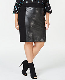I.N.C. Plus Size Faux-Leather Front Pencil Skirt, Created for Macy's