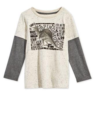 Toddler Boys Layered-Look Dinosaur-Print T-Shirt, Created for Macy's