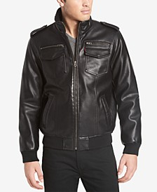 Men's Big & Tall Faux Leather Aviator Bomber Jacket