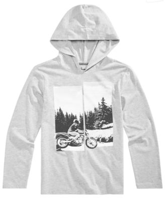 Big Boys Hooded Motorcycle-Print T-Shirt, Created for Macy's