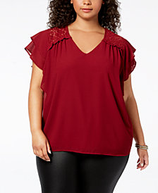 Monteau Trendy Plus Size Lace-Trim Flutter-Sleeve Top