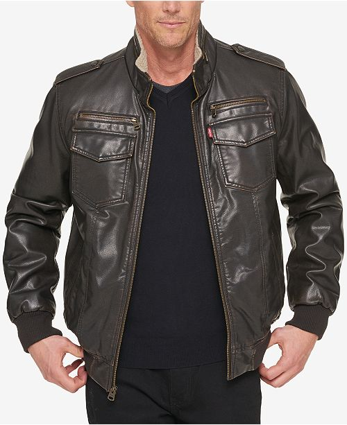 Men's Faux Leather Aviator Bomber Jacket with Fleece Lining