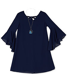 BCX Big Girls 2-Pc. Ruffle-Sleeve A-line Dress & Necklace Set