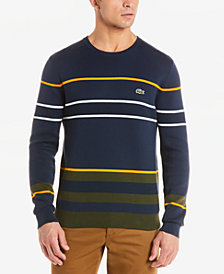 Lacoste Men's Regular-Fit Colorblocked Stripe Sweater