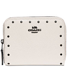 COACH Border Rivets Zip Around Wallet in Pebble Leather