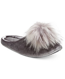 I.N.C. Pom Pom Velvet Slippers, Created for Macy's