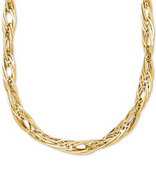 "Oval Interlocking Link Chain 17"" Collar Necklace in 14k Gold"