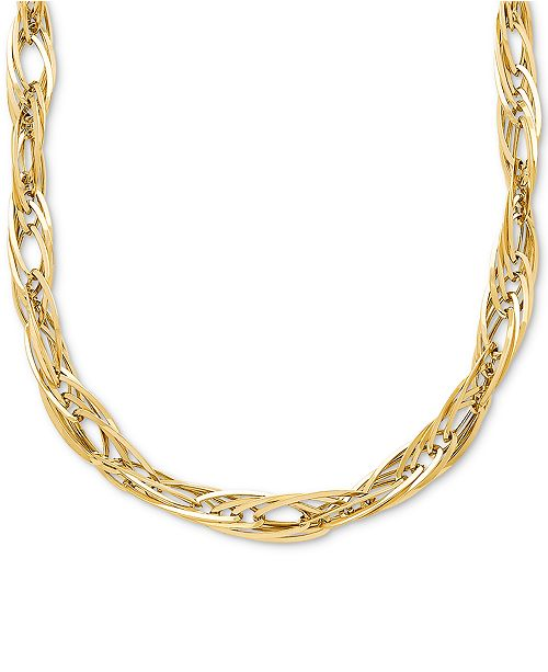"""Macy's Oval Interlocking Link Chain 17"""" Collar Necklace in 14k Gold"""
