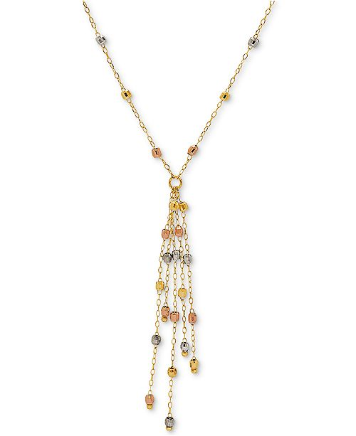 "Macy's Tricolor Beaded Tassel Pendant Necklace in 10k Gold, White Gold & Rose Gold, 16"" + 2"" extender"