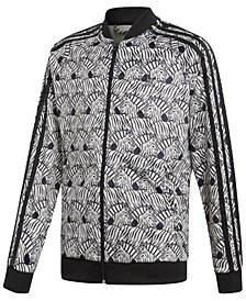 adidas Big Girls Zebra-Print Velour Track Jacket