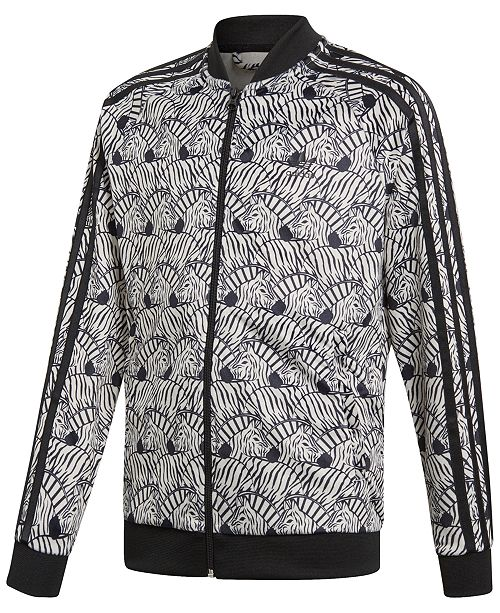 4455f89b730 adidas Big Girls Zebra-Print Velour Track Jacket   Reviews - Coats ...