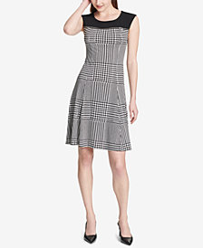 Calvin Klein Plaid Fit & Flare Dress
