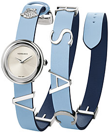 Versace Women's Swiss V-Flare Light Blue & Navy Leather Wrap Strap Watch 28mm
