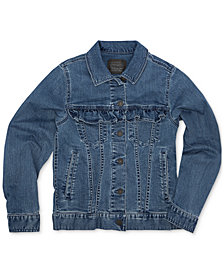 Levi's® Big Girls Ruffle-Trim Trucker Denim Jacket