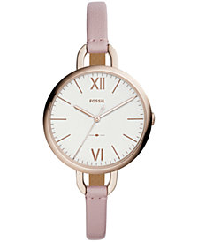 Fossil Women's Annette Pastel Pink Leather Strap Watch 36mm