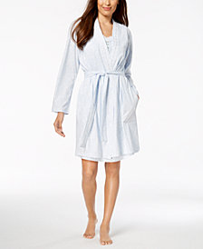 Charter Club Cotton Embroidered-Trim Robe, Created for Macy's