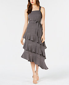 Bar III Ruffled Asymmetrical Midi Dress, Created for Macy's