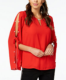 Thalia Sodi Split-Sleeve Keyhole Top, Created for Macy's