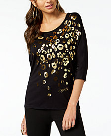 Thalia Sodi Metallic Leopard-Print Top, Created for Macy's
