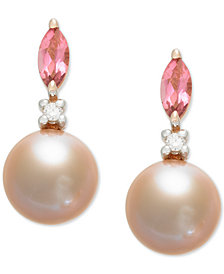 Pink Cultured Freshwater Pearl (7mm),Pink Tourmaline (1/3 ct. t.w.) & Diamond Accent Drop Earrings in 14k Rose Gold