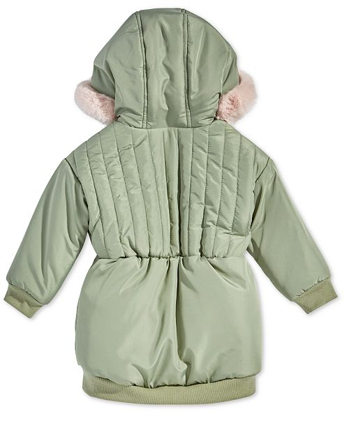 361a5450a First Impressions Baby Girls Hooded Parka with Faux-Fur Trim ...