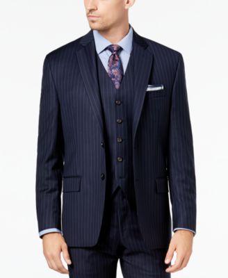 Men\u0027s Classic,Fit UltraFlex Stretch Navy Pinstripe Suit Jacket
