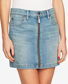 1.STATE Cotton Denim Mini Skirt