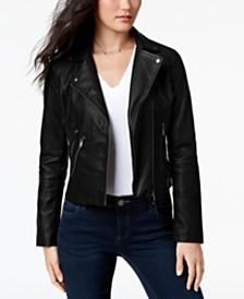 CoffeeShop Juniors' Faux-Leather Moto Jacket