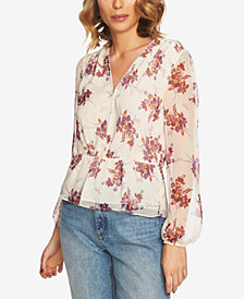 1.STATE Floral-Print Peplum Blouse
