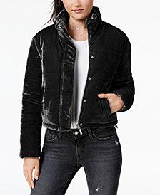 Jou Jou Juniors' Cropped Velvet Puffer Coat