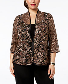 Alex Evenings Plus-Size Embroidered Jacket & Top Set