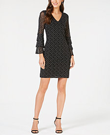 I.N.C. Tiered-Sleeve Mesh Dress, Created for Macy's