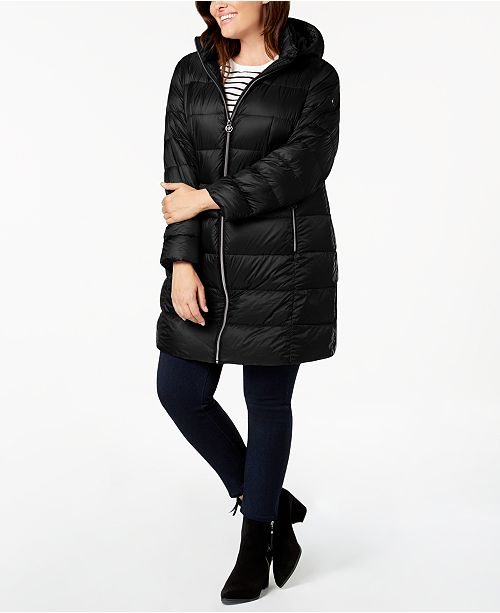 ed08541c887 Michael Kors Plus Size Hooded Puffer Coat   Reviews - Coats - Women ...