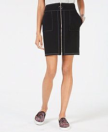 I.N.C. Petite Zip-Front Mini Skirt, Created for Macy's