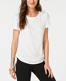 I.N.C. Petite Cotton Faux-Pearl-Embellished Top, Created for Macy's