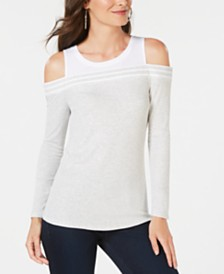 I.N.C. Ribbed Cold-Shoulder T-Shirt, Created for Macy's