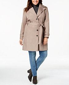 Calvin Klein Plus Size Waterproof Trench Coat, Created for Macys