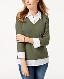 Cotton Layered-Look Woven Top, Created for Macy's