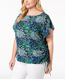 MICHAEL Michael Kors Plus Size Printed Ruched Top
