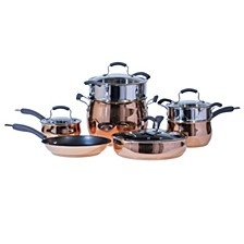 11-Pc. Rose Gold Stainless Steel Cookware Set