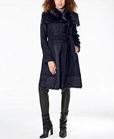 Vince Camuto Faux-Fur-Trim Wrap Coat
