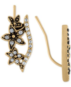 GOLD-TONE PAVE BAR & FLOWER CLIMBER EARRINGS