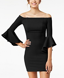 Juniors' Ruffle-Sleeve Off-The-Shoulder Dress