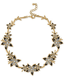 "RACHEL Rachel Roy Gold-Tone Ombré Pavé Flower Collar Necklace, 14-1/2"" + 2-1/2"" extender"