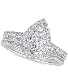 Diamond Teardrop Cluster Bridal Set (5/8 ct. t.w.) in 14k White Gold