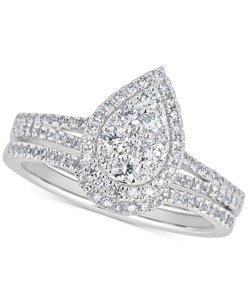 Macy's Diamond Teardrop Cluster Bridal Set (5/8 ct. t.w.) in 14k White Gold