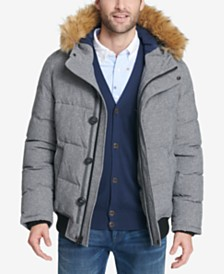 Tommy Hilfiger Men's Short Parka Jacket with Faux Fur Hood