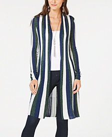 I.N.C. Petite Striped Duster Cardigan, Created for Macy's