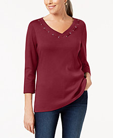 Karen Scott 3/4-Sleeve Cotton Grommet-Detail Top, Created for Macy's